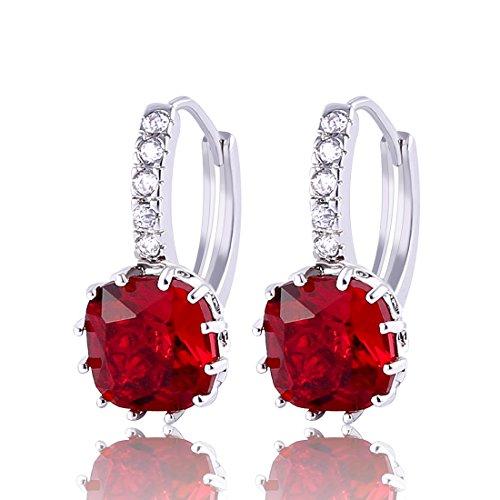GULICX 925 Sterling Silver Red Huggie Hoop Earrings Garnet Color Princess Cut Square Stone Zircon