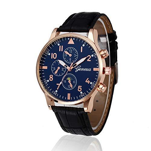 Wristwatches, Men Watches,Bokeley Mens Fashion Luxury Crocodile Faux Leather Stainless Steel Analog Watch (W-E) (W-Black 3)