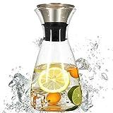 ZTMN Calienta el Enfriador de Agua con una Tapa para Evitar Fugas Laterales, Jarra de Jugo de té, Bomba, Botella de Vidrio a Prueba de explosión, Botellas de Agua fría y fría