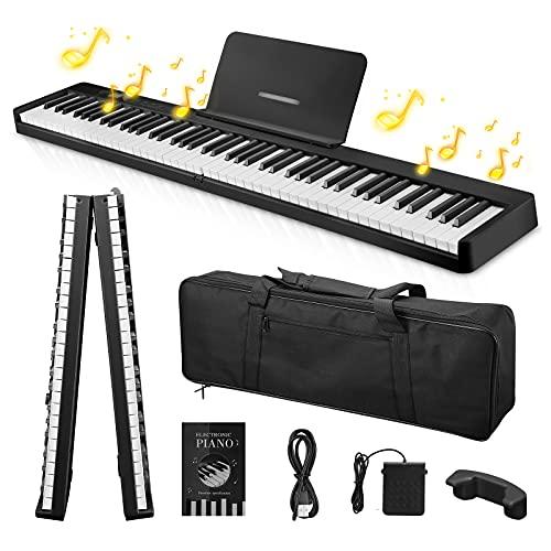 Piano plegable portátil, Kacsoo-Piano digital de 88 teclas con teclas semipesadas/Llave iluminada/128 tonos / Bluetooth/ Pedal de sostenido / aplicación inteligente, para practicar para principiantes