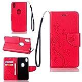pinlu Funda para BQ Aquaris X5 Plus (5 Pulgada) Función de Plegado Flip Wallet Case Cover Carcasa Piel PU Billetera Soporte con Ranuras Mariposa Flores Rosa Roja