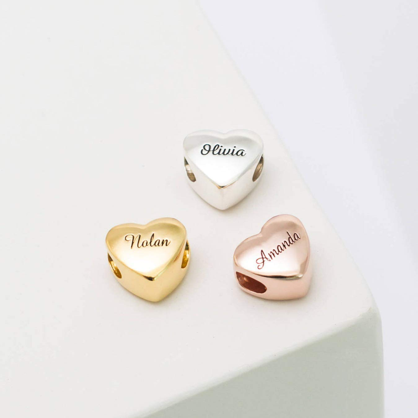 Cheap sale Silver San Antonio Mall Heart Charm Personalized Name Beads Jewelry B Custom