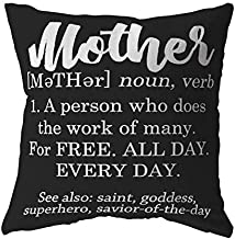 Tessa Mae Designs Funny Pillow Cover Definition of a Mother for Women, Moms (18x18, Black)