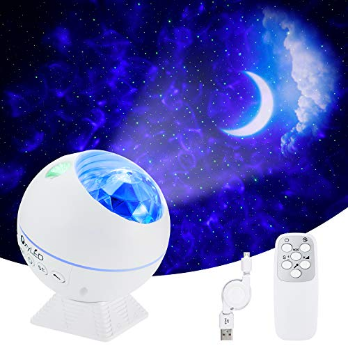 LED Sternenhimmel Projektor,OxyLED LED Sternenlicht Projektor mit Fernbedienung&Bluetooth&Timer,Rotierende Wasserwellen Projektionslampe, Farbwechsel Musikspieler Nachtlichter für Zimmer,Party,Weiß