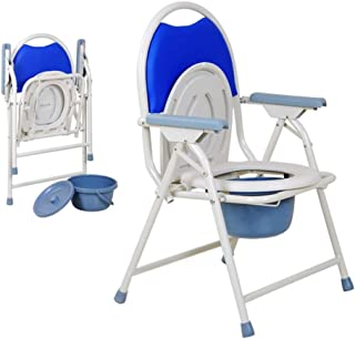 Deodorant Foldable Commodes Toilet with Commode Bucket/Bedside Toilet Bathroom Stool Mobile Nursing Chair for Old Man