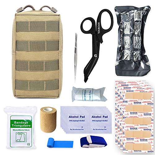 TOUROAM Trauma Medical First Aid Kit -Tactical Emergency Israeli Bandage-Survival Military Combat Tourniquet-Small IFAK Pouch for Kayak Camping Sports