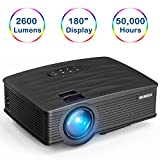 Videoproiettore,WiMiUS TK1000 Mini Portatile Proiettore Full HD 2600 Lumen LED Supporto HDMI 1080p Full HD Multimedia Proiettore per iPhone Smartphone Tablet PC Computer con TV/AV/VGA/USB/HDMI