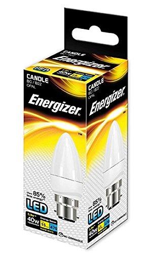 Energizer Ampoule flamme LED culot à baïonnette B22 Blanc chaud 6 W équivalent 40 W 470 lumens , Single Pack, B22d (Bayonet Cap)