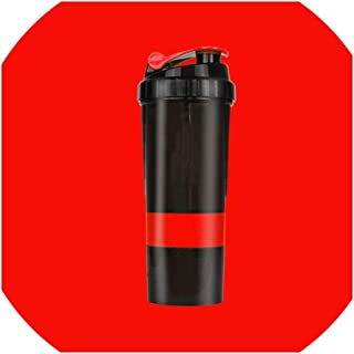 Water Bottle Fitness Exercise Shake Cup Protein Powder Mixing Sports Bottle Three-Layer Multi-Function Sealed Leakproof for Outdoor Sports