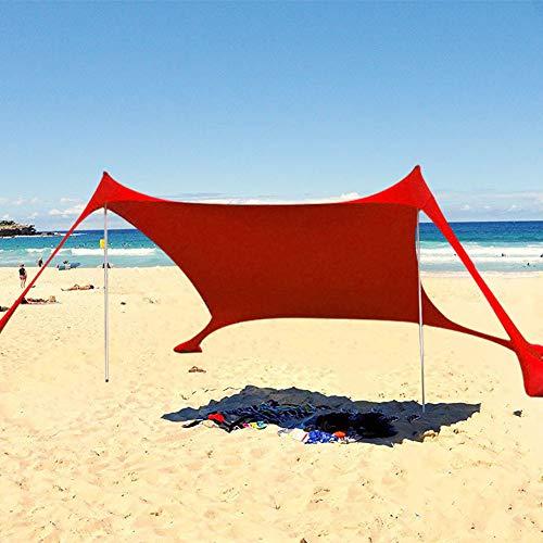 Großes Zelt Familienstrand im Freien Sonnenschutz Leichtes Zelt UPF50 + UV Tragbare Überdachungsparks Wasserdichte Camping-Wanderzelte im Freien (rot)