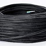 Cable textil revestido de plástico, cable de alimentación / 3 hilos 3 x 0,75 mm² con conductor de tierra, accesorios de lámpara (5 m), color negro