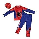 3点セット(水着上、水着下、帽子) スパイダーマン 水着 子供に 男の子 水着 今から大活躍 紫外線カット(長いタイプM)
