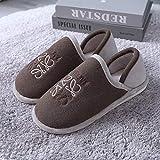 Parejas Zapatos de casa de algodón, Zapatillas de Felpa para Hombre y Mujer, Zapatilla cálida Interior para Embarazadas/parturientas, Zapatos Interiores de otoño Invierno-café_41-42