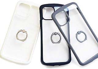 エアージェイ iPhone12mini (5.4インチ,ブラック) 背面ケース 耐衝撃 カラフル フレーム リング付き スマホリング 光沢 クリア 透明 バックカバー 5.4インチ [アイフォン12ミニ, ブラックBK] AC-P20S-KZRBK