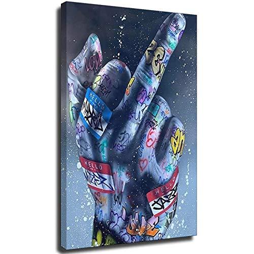 Gesto de dedo medio arte callejero carteles e impresiones Graffiti arte pinturas en la pared arte lienzo cuadros decoración del hogar Unframe-style1 50 x 75 cm