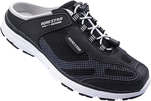 Herren Sabots Schuhe Sandalette Pantoletten Slipper Gr.41-46 Art.Nr.1699 schwarz-grau (44)