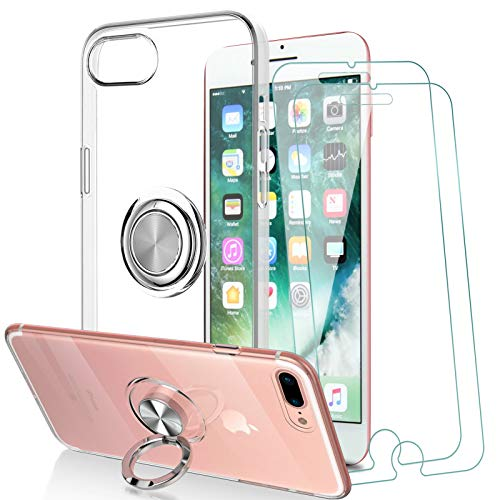 KEEPXYZ Funda para iPhone 7 Plus/iPhone 8 Plus + 2 Pcs Protector de Pantalla Cristal Templado, Silicona Transparente TPU 360 Anillo Iman Soporte Bumper Carcasa + Vidrio Templado para iPhone 7/8 Plus