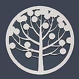 Cuadro Árbol de la vida Calado de Pared -Fabricado en Madera Artesanalmente en España - Cuadro Decoración para Salón, Dormitorio, Baño (Blanco, 1 unidad 80x80 M56)