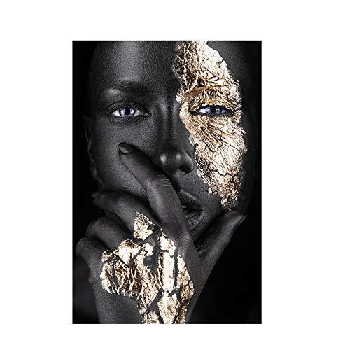 JinYiGlobal Peinture sur Toile Femmes Noires africaines Peinture dorée Affiches d'art sur Toile et Impressions Décoration de Salon scandinave 60x80cm (23.6'x31.5) avec Cadre