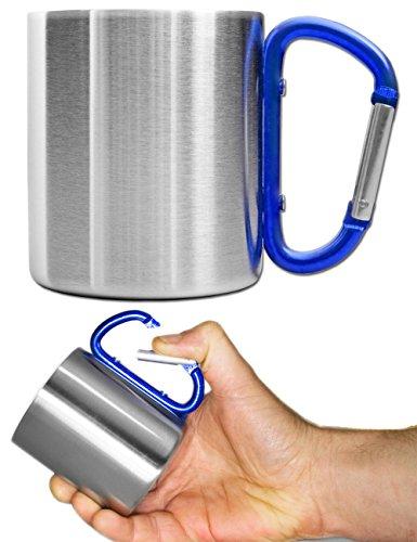 Outdoor Saxx® - Camping-Tasse, Outdoor-Becher, Metall-Becher, 250 ml mit geschraubtem Karabiner-Griff, Edelstahl, Wandern, Trekking, Arbeit, blau