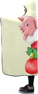 CYDBQ 膝掛け 豚 靴下 フード付き毛布 肩掛け 着る毛布 ブランケット 帽子付きマント 部屋着 ルームウェア フランネル 可愛い 柔らかい レディース 大きい