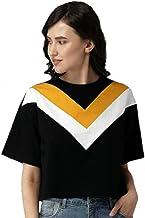 JUNEBERRY Women's Cotton Regular Fit T-Shirt (JB_TSH_117_BLKYLWWHT_P_Black_P)