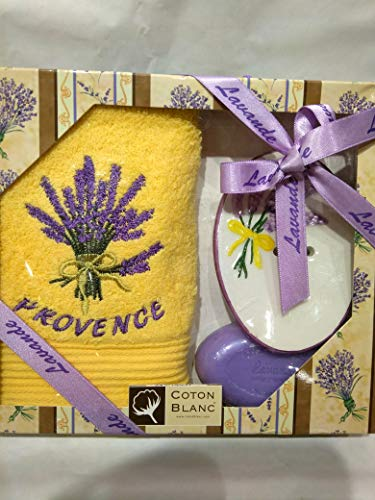Coton Blanc, Boîte cadeau Savon Lavande (Serviette jaune)
