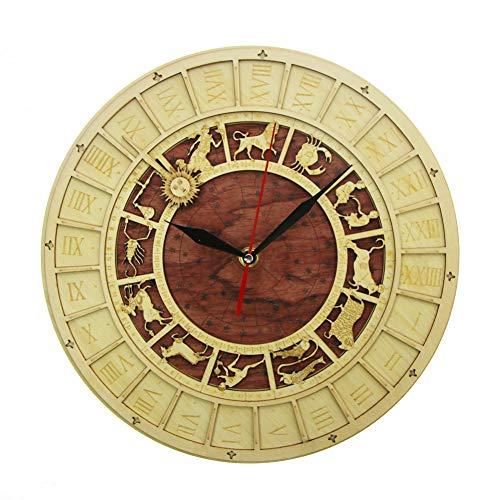 ACLOCK Holz Uhr Rustikale Kichen Wanduhr Astrologie Wissenschaft Sternzeichen Wandkunst Vintage Astronomische Sternbilder Uhr