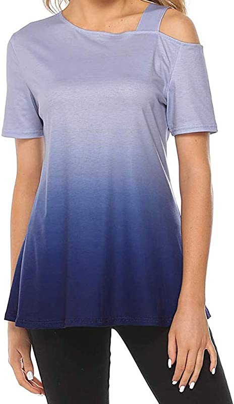 RoDeke Summer Women S Cold Shoulder Casual Short Sleeve T Shirt Loose Tunic Tops Blouse Shirt