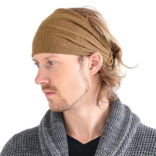 CHARM Casualbox Leinen Kopf Band Bandana natürlich elastisch Haarband Sport Mode wickeln Kamel