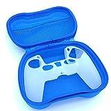 Funda y carcasa PS5 Azul, Caja y Funda (PACK) para Mando PS5, DualSense,Funda de Silicona, Suave para PS5, Antideslizante, A Prueba de Polvo y elástica,Piel del controlador.