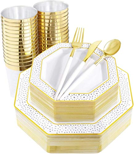 Supernal 180pcs Gold Dinnerware SetWhite Plates with Gold Lace DesignGold Disposable CutleryDisposable Octagonal Plates include 60 Disposable Plates30 Forks30 Knife30Spoons30 Cups
