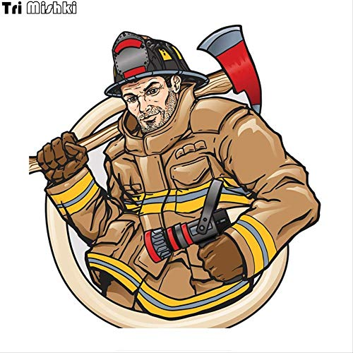 JYIP 14 * 14,5 cm Feuerwehr Autoaufkleber PVC Coloful Aufkleber Motorradzubehör Aufkleber 3 Stück WCS699