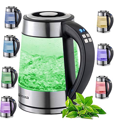 Glas Wasserkocher 1,8 Liter | 2200 Watt | Edelstahl mit Temperaturwahl | Teekocher | 100% BPA FREI | Warmhaltefunktion | LED Beleuchtung im Farbwechsel | Temperatureinstellung (40°C-100°C)