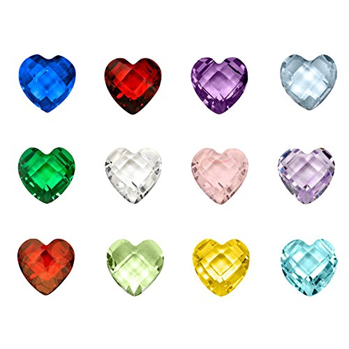 Happy Hours - 12 Colors Assorted Mix Heart Birthstones / 120 Pcs Crystal Charms for Floating Charm Living Memory Lockets