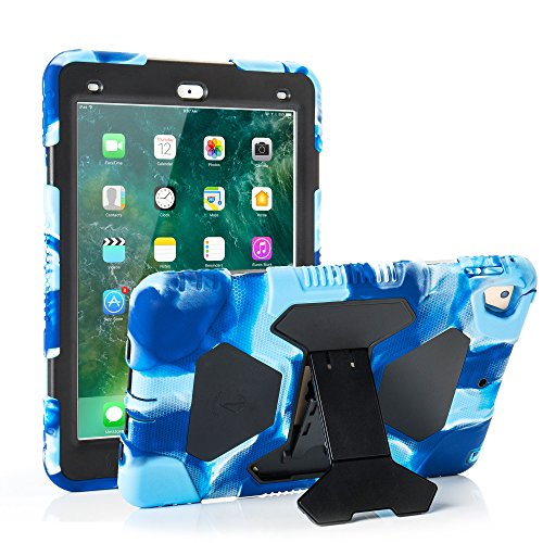 ACEGUARDER iPad 2017/2018 iPad 9.7 inch Case, Shockproof Impact Resistant Protective Case Cover Full Body Rugged for Kids with Kickstand for ipad 5 th/ipad 6 th Generation, Navy Black