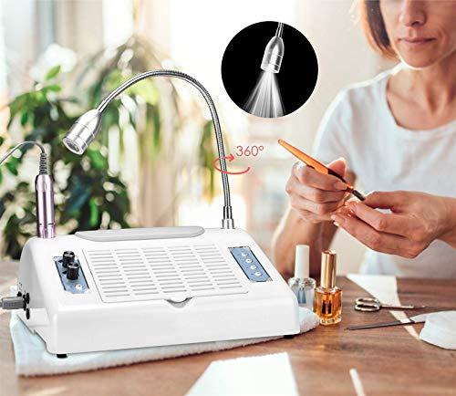 InLoveArts 5 IN 1 Torno para Uñas Profesional para Manicura y Pedicura Eléctrica del Taladro del Clavo,30000 rpm lima de uñas eléctrica,LED UV de 48/96W,lámpara de escritorio de 360°