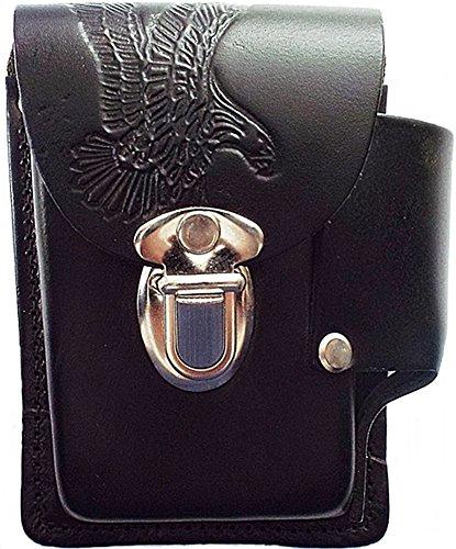 Running Bear Pitillera Caja de Cigarrillos Águila de piel Negro fabricado en Estados Unidos