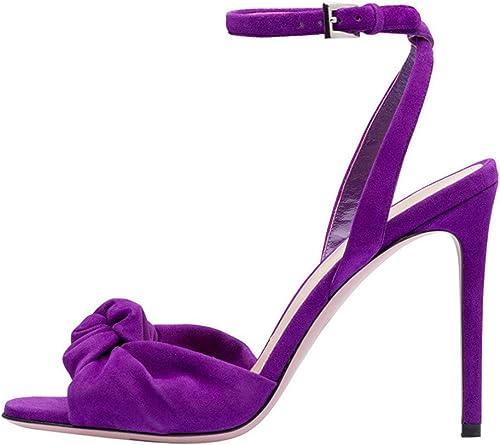 damen Sandalias de Tacón Altos lila Terciopelo Tacones de Aguja schuhe de Vestir de Uniforme Peep Toe Hebilla Correa del Tobillo schuhe de Boda,lila,EU37 UK5