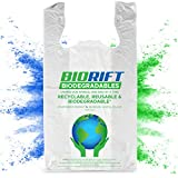 BioRift Eco Friendly T-Shirt Grocery Bags | 100% Biodegradable | Certified ASTM D5511 Thank You Shopping Bags with Handles | Extra Thick 0.61 Mils, Food Scraps, & Shopping - 500 Count (500 Count)