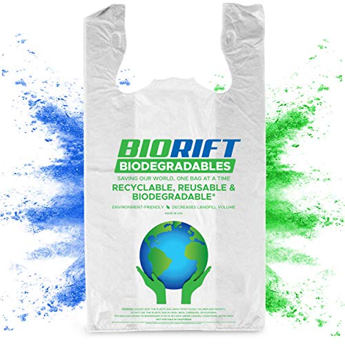 BioRift Eco Friendly T-Shirt Grocery Bags | 100% Biodegradable | Certified ASTM D5511 Thank You Shopping Bags with Handles | Extra Thick 0.61 Mils, Food Scraps, Shopping - 500 Count (500 Count)