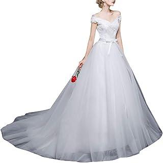 ztmyqp Simplicité Élégante Robe de Mariée à L'Épaule Manches Courtes de Mariée Longue Soirée en Dentelle Robe de Mariée Po...