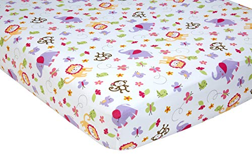 Little Bedding by NoJo Tumble Jungle Fitted Crib Sheet, Lavender/Pink/Green/White