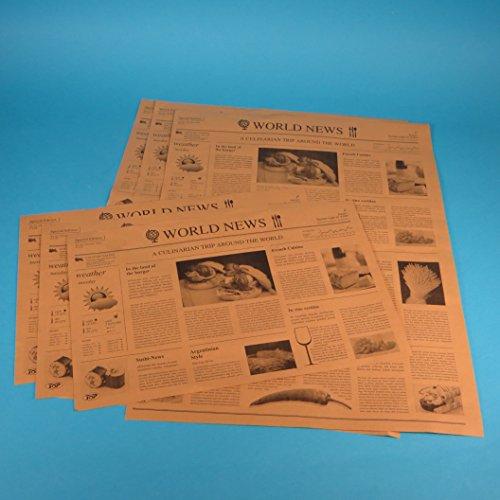 1000 Blatt Bio Einschlagpapier Hamburgerpapier Sandwichpapier Frischhaltepapier Pergamentersatz braun fettdicht Zeitung/mit Zeitungsdruck braun 37,50x50cm 1/4 XL