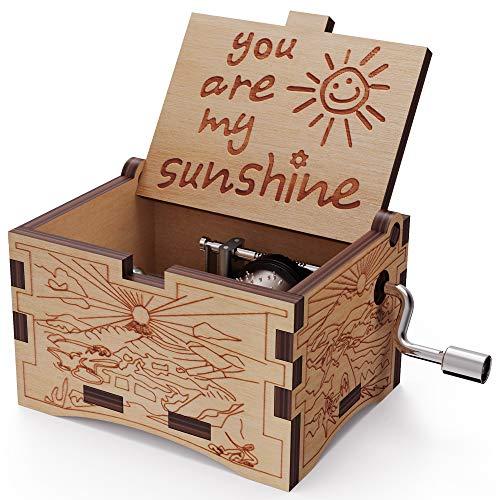 NNDUO You are My Sunshine Holz-Spieluhr, lasergraviert, Vintage-Holz-Sonnenschein als Geschenk für Geburtstag, Weihnachten, Valentinstag, Holz-Sonnenschein, 2.55*1.97*1.5 inch