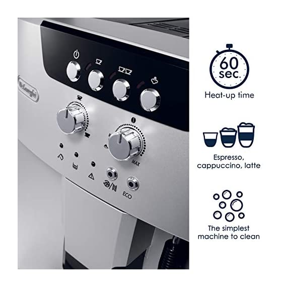 De'longhi esam04110s magnifica fully automatic espresso machine with manual cappuccino system silver 2 thermo block technology provides excellent heat distribution integrated burr grinder with adjustable settings consistent brewing every time