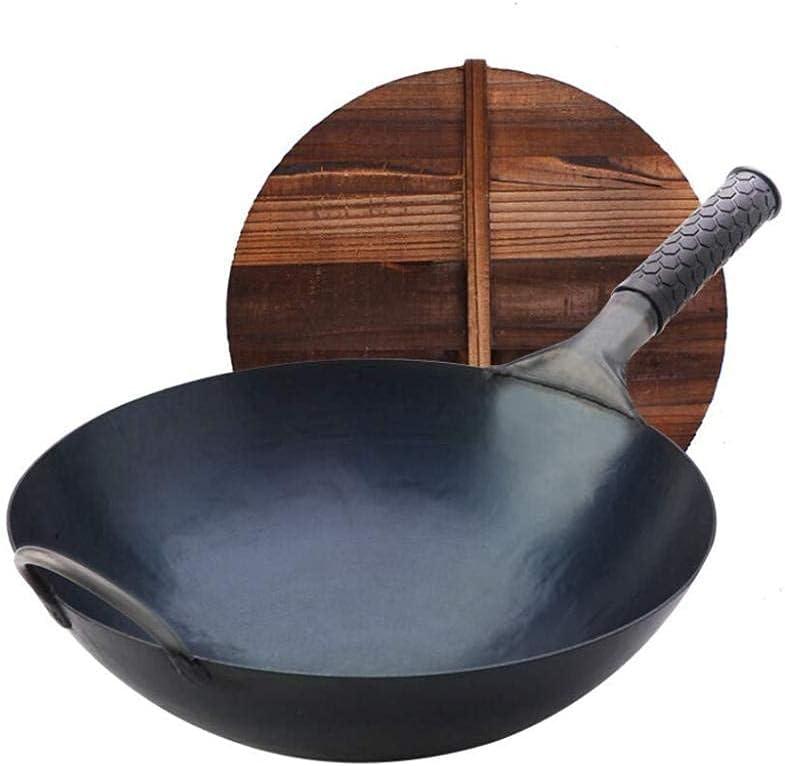 Stir-fried Wok Cast Ranking TOP1 Iron Pan with 40 Lid 36 cm Wood Dedication Suitab