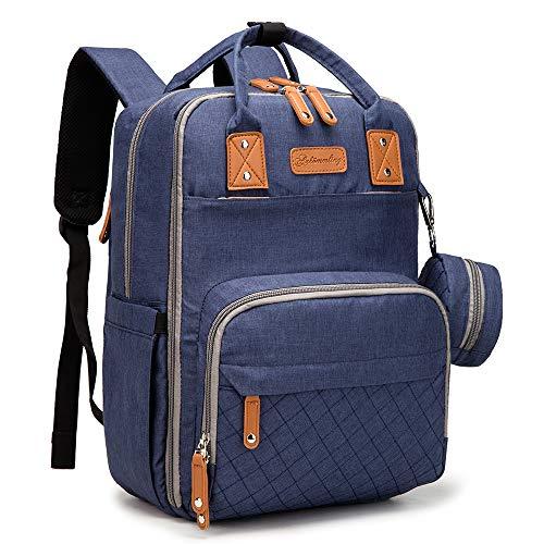 Baby Wickelrucksack für Mama Navy Blau, Wasserdicht Baby Rucksack Wickeltasche, Große Kapazität Babytasche mit USB-Ladeanschluss, wickelunterlage & Kinderwagenhaken für Reisen und Freizeit