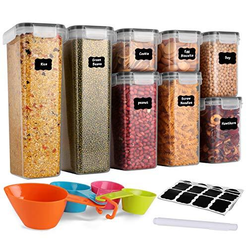 GoMaihe Botes Cocina, Juego de 8 Piezas de Recipiente de Botes Cocina Almacenaje de Plástico de Alimentos Sellados con Tapa, Se Utiliza para Almacenar Cereales, Pasta, Arroz, Harina, Etc
