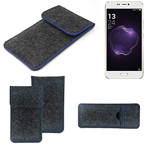 K-S-Trade® Filz Schutz Hülle Für Allview X4 Soul Style Schutzhülle Filztasche Pouch Tasche Case Sleeve Handyhülle Filzhülle Dunkelgrau, Blauer Rand
